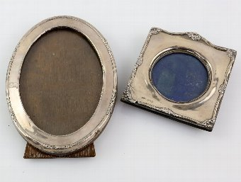 Antique Two silver photo frames of different designs, Birmingham 1910 & 1926