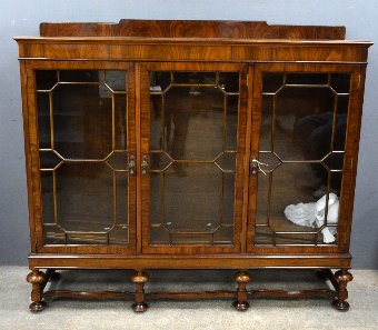 Antique 1920's walnut  display cabinet