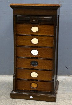 Antique Early 20th century American oak tambour fronted filing cabinet