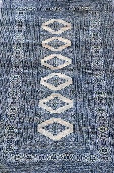 Antique Persian grey ground rug with six central medallions and multiple borders