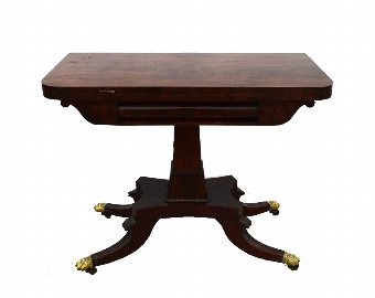 Antique 19th century mahogany folding card table on claw feet, 72cm x 92cm x 46cm.