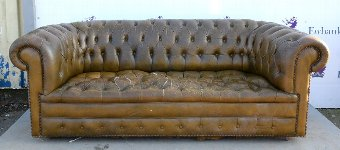 Antique 19th century style brown leather button back chesterfield sofa, 215cm wide.