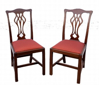 Antique Pair of Chippendale style mahogany George V Coronation chairs ( 1911), 97cm high. stamp to base