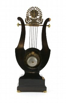 Antique 19th century Lyre shaped  two train mantel clock with gilt metal mounts,  56cm