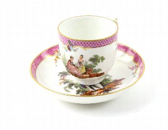 Antique Early 19th century cabinet cup and saucer, Gosford Castle collection label to base of cup