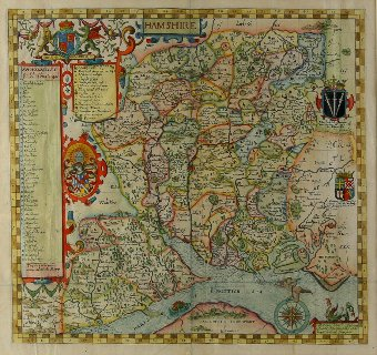 Antique Joseph Norden 16th century  map of Hampshire published,  by John Overton , 43cm x 45cm