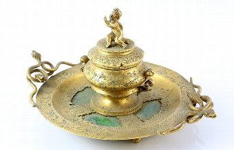 Antique Victorian gilt-metal and green hardstone inkwell