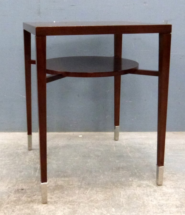Modern mahogany occasional table on square supports with circular under tier