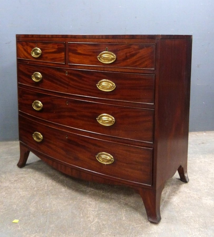 Antique 19th century chest of two short and three long drawers on splayed bracket feet, 96cm x 110cm