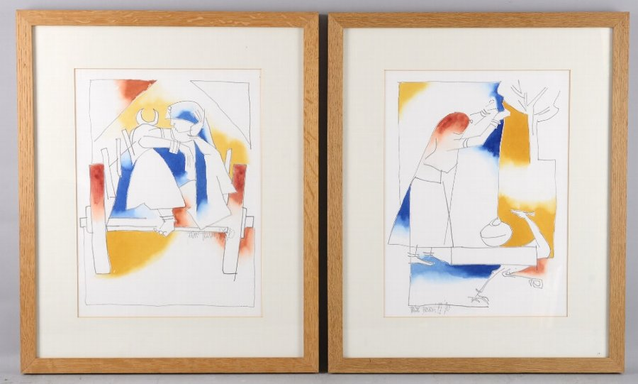Thota Thorani (Indian, b.1949). Pair of studies of Rajasthani Women. Watercolour, graphite. Signed and dated. Thorani is an Indian artist and film art producer / director. Each framed and glazed. Each 35 x 27cm. Frame sizes: 53 x 43.5cm