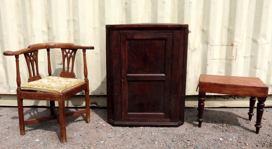 19th century corner cabinet, oak corner chair and a mahogany commode