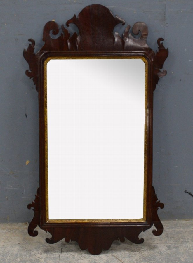 Antique George III mahogany fret framed mirror - 80 x 45 cm