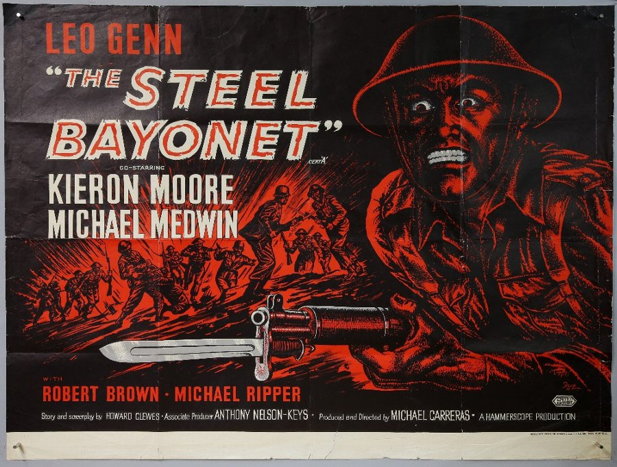 The Steel Bayonet (1957) British Quad film poster, Hammerscope Production, folded, 30 x 40 inches