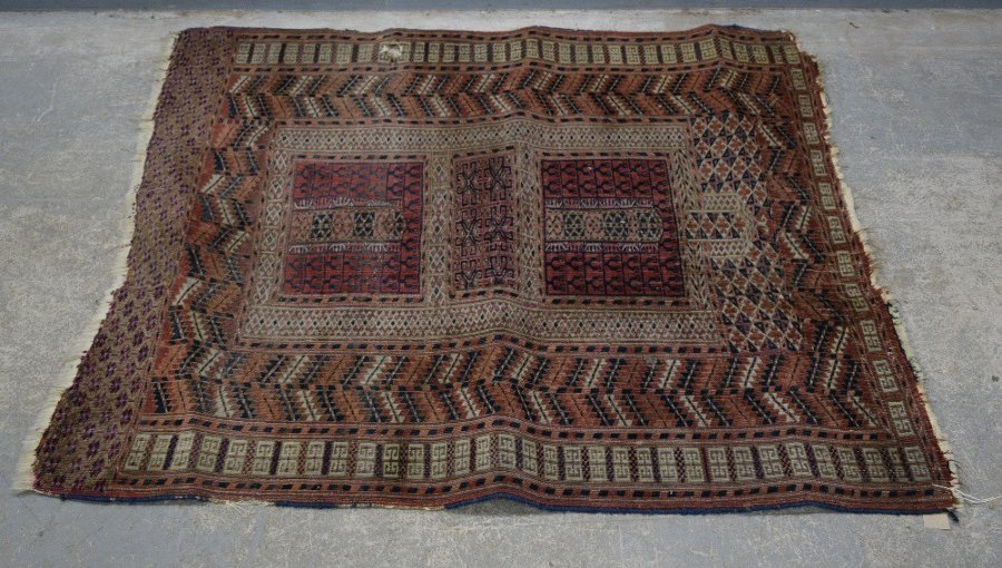 Two Afghan type red ground rug,  120cm x 130cm  186cm x  134cm
