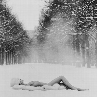 Antique Patrick Lichfield (1939-2005) Girl on Snow, USSR, 1989