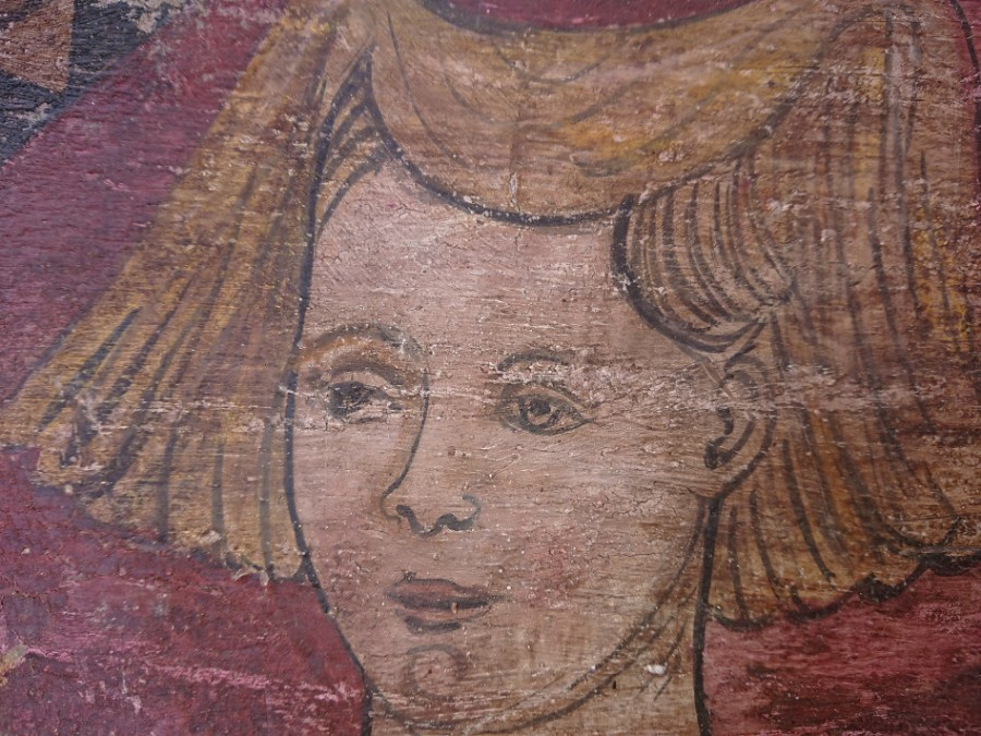 Antique Italian portrait on wood XVI century