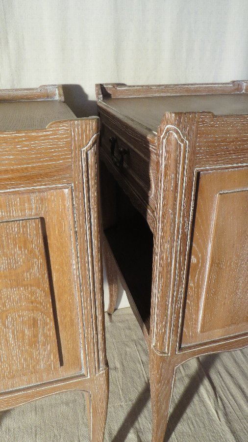 Antique PAIR OF FRENCH OAK BEDSIDE CUPBOARDS. C.1930.