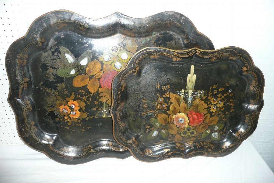 A PAIR OF TOLEWARE TRAYS C.1850