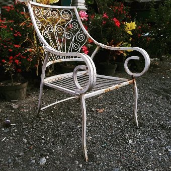 Antique Vintage Wrought Iron Peacock Chair