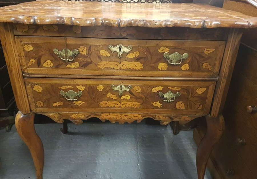 Unique 18th Dutch Marquetry Chest of Drawers, circa 1780, Chest on Stand, Floral Marquetry Chest of Drawers, Antique, Vintage