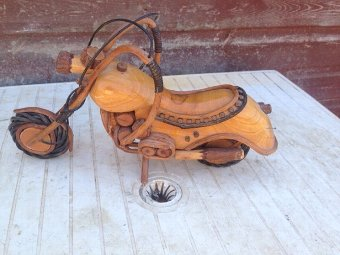 Late 20th century extremely cleverly made wooden model of a motor bike.