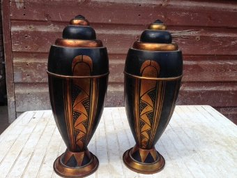 Antique A pair of 32cm high by 13cm in diameter Art-deco bomb-shaped heavy brass vases, decorated in the design and colours that simply define the style of Art-deco.