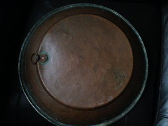 Antique 19th century possibly English 42cm in diameter round copper bowl was an authentic kitchen utensil