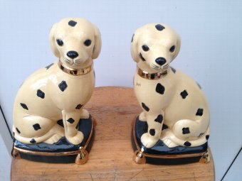 Antique A fabulous pair of 19th century French ceramic 19cm by 11cm by 9cm, figures of dalmatian dogs