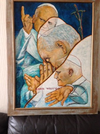 Antique An impressively executed 20th century 72cm by 53cm oil on canvas of Karol Wojtyla who was the pope of the head of the Catholic church