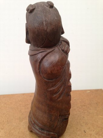 Antique late 19th early 20th century Chinese buddha wooden book-end craved from bamboo, 30cm by 9 cm in diameter