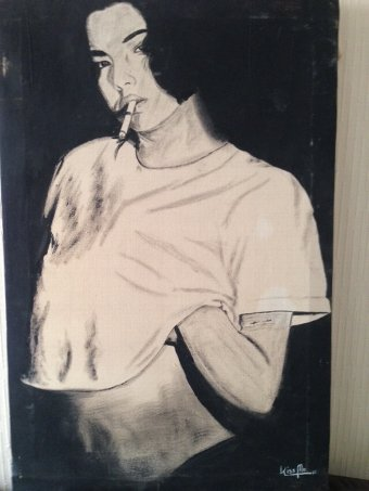 "Antique Fabulous and very provocative 20th century black and white acrylic on canvas titled ""Kiss Me"" and dated 87."