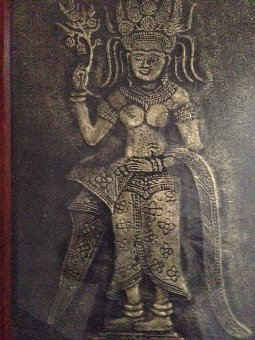 Antique Very early Indian 28cm by 45cm artwork of a goddess portrayed in raise gold on aged black cloth