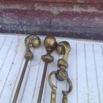 Antique Possibly one of a kind and extremely usual set of 19th early 20th century heavy brass fire irons