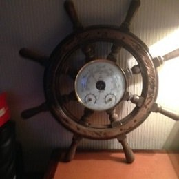 Mid-20th century French Ship's wheel with 20cm diameter round inlaid barometer