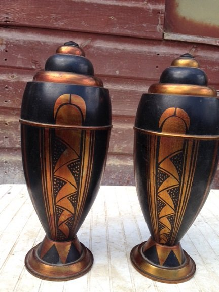 Sensible offers accepted for these pair of 32cm high by 13cm in diameter Art-deco bomb-shaped hea...