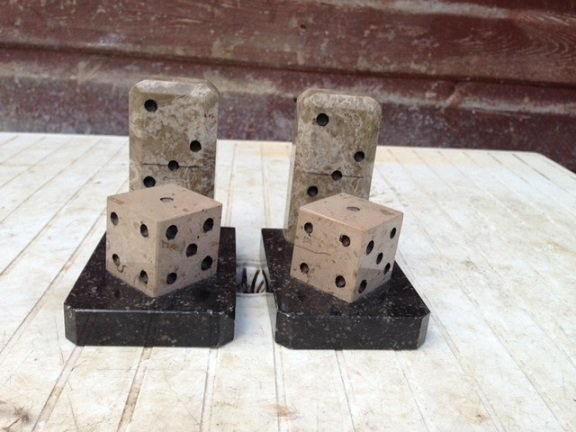 Art-deco marble dice book ends, 10.5cm high by 11cm width by 8cm depth in excellent condition.