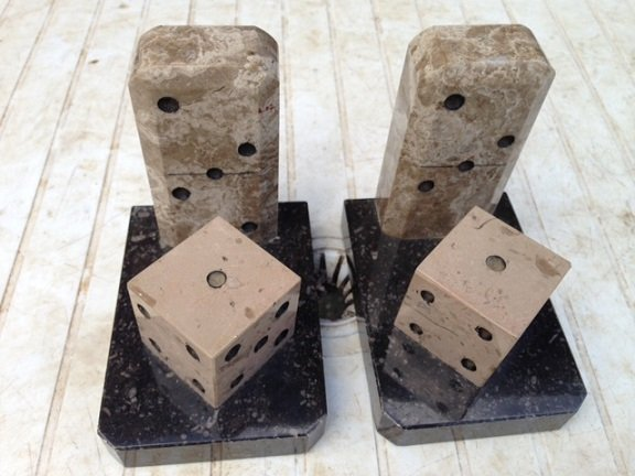 Antique  Art-deco marble dice book ends, 10.5cm high by 11cm width by 8cm depth in excellent condition.