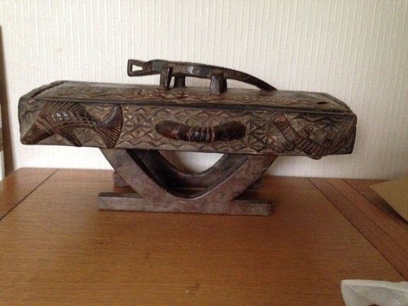 An authentic rare late 19th early 20th century African tribal gambling box, 49cm by 17cm by 24cm