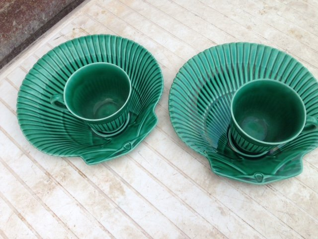 Sensible offers accepted for these two green fluted designed Etruria Barlaston Wedgewood cups wit...