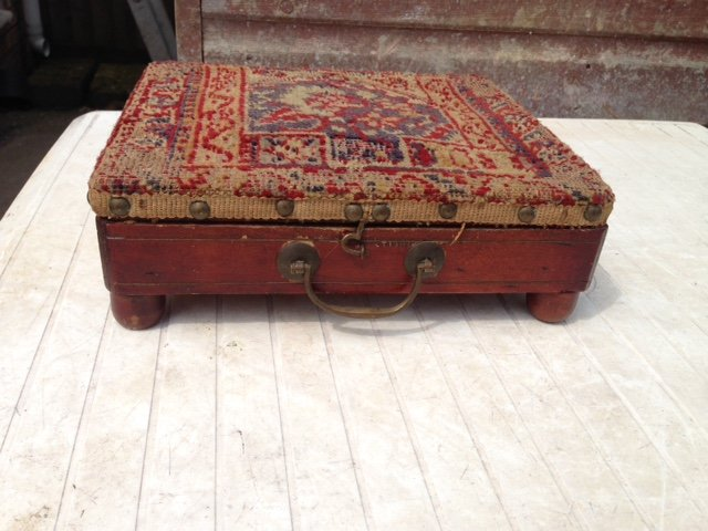 Late 18th early 19th century coach wooden passenger seat/foot warmer with a brass tank insert