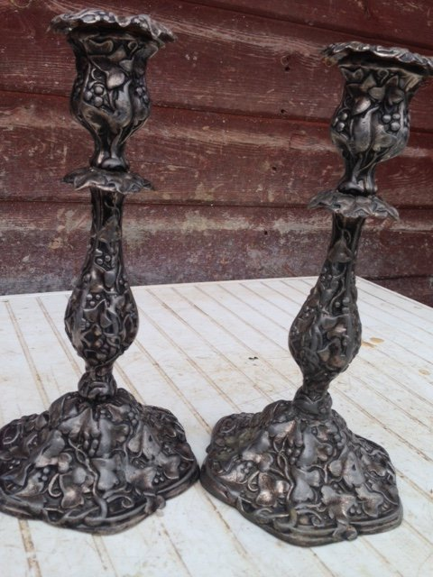 A truly attractive pair of late 19th early 20th century ornately decorated Art-nouveau candle sticks in (vermeil metal alloy).