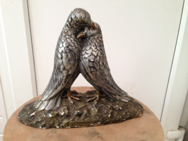 Antique Late 19th early 20th century French plaster figure of two caressing doves, titled Tendresse and signed L.Blanc.