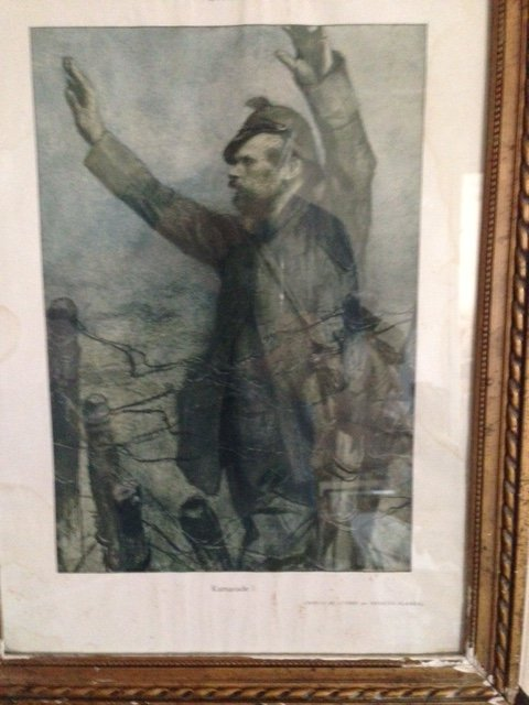 Antique First world war print of a German solder surrendering with the words Kamarade to French troops at Verdun in 1916