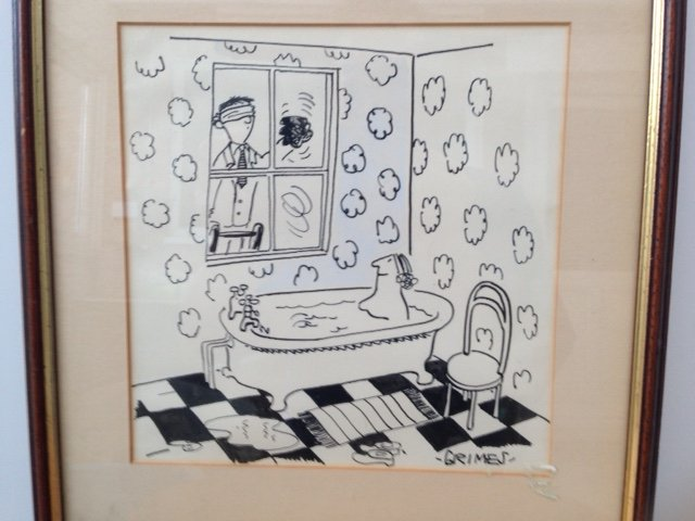 Late 60's or 70's original ink drawing 19cm by 20cm by the newspaper cartoonist G Grimes