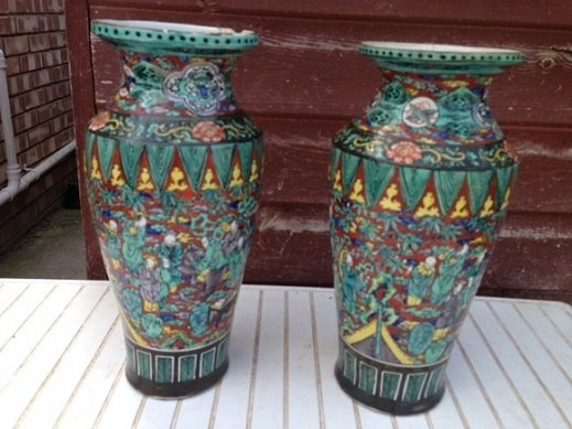 Sensible offers accepted for these pair of late 19th early 20th century very attractive 30cm Chinese multi coloured heavy ceramic vases