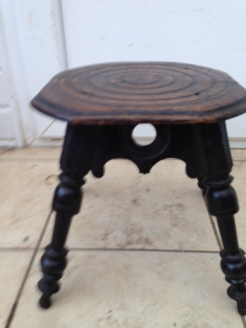 Charming black stained 18th century French 31cm by 27cm oak pegged 4-legged provincial cavalier stool