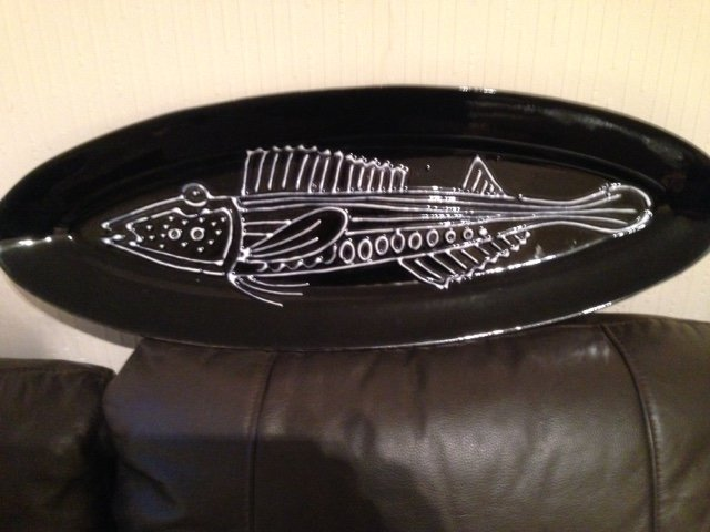 Sensible offers accepted for this superb looking 61cm by 22cm mid-20th century black ceramic fish...