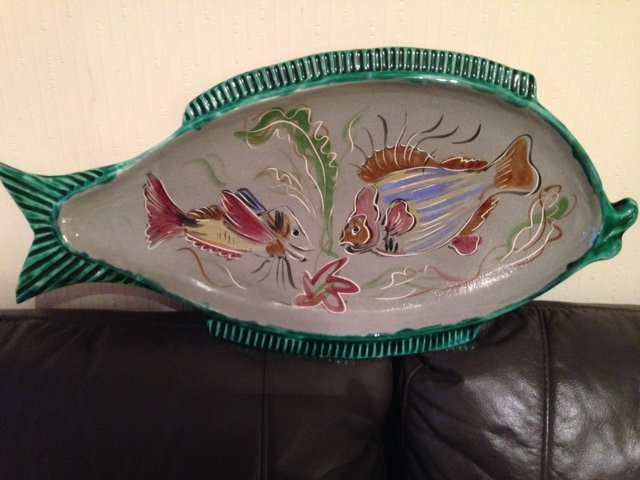 Sensible offers accepted for this French mid-20th century fish plate 61cm by 31cm flamboyantly de...