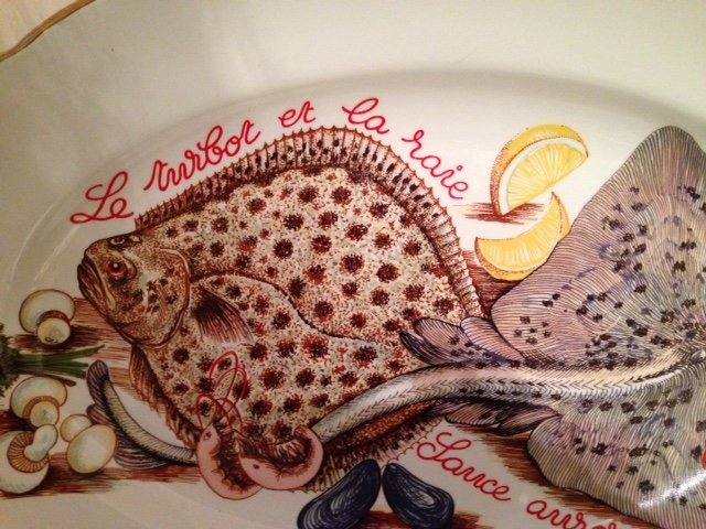Antique A very tastefully decorated French 38cm by 26cm mid-20th century fish plate in excellent condition.