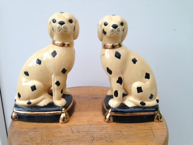 A fabulous pair of 19th century French ceramic 19cm by 11cm by 9cm, figures of dalmatian dogs